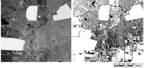 Figure 3: Aerial photo and the extracted built-up area in 1960.