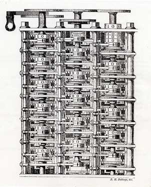fig. 1 - Charles Babbage : Difference Engine n° 1. Frontispice de Charles Babbage, Passages of the life of a philosopher, London, Longman, 1864.