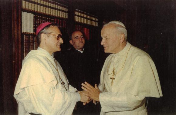 Peter Claverie i audiens hos den hellige pave Johannes Paul II