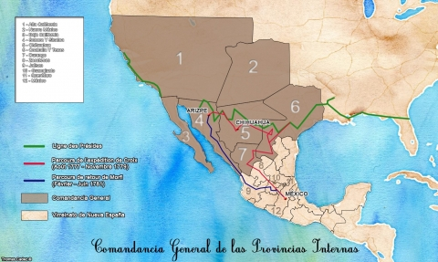 Carte 1. Comandancia General de las Provincias Internas