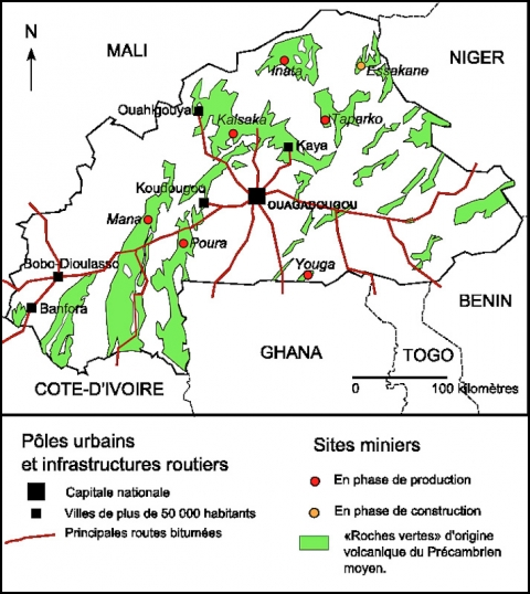 Carte 1 - Localisation des industries extractives au Burkina Faso