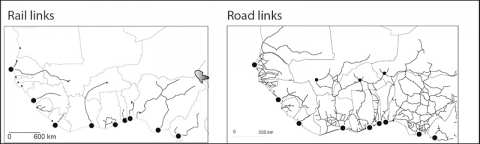 Figure 1 – Ports and inland links (2007)