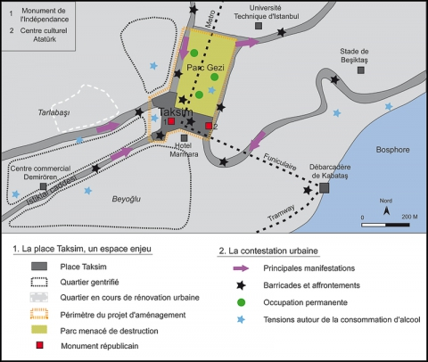 Illustration 2 - Taksim : le dispositif spatial de la mobilisation