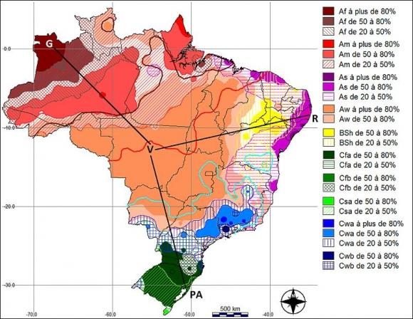 Carte Climat Bresil.Les Types De Climats Annuels Au Bresil Une Application De
