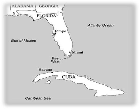 Charles Peirce And Cuba - Us and cuba map