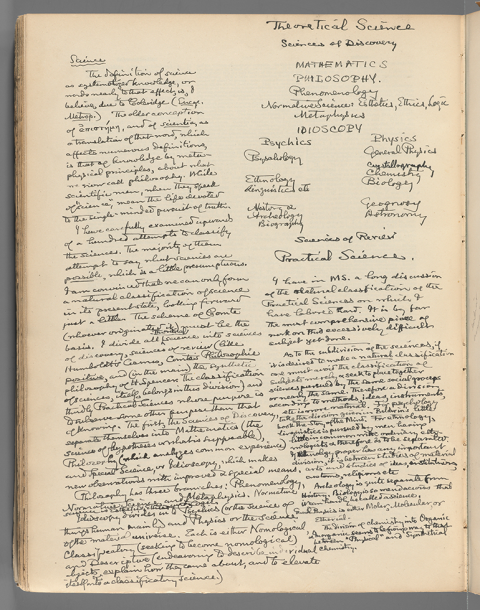 Fig. 5 Peirce's annotations to the entry on Science in the Century Dictionary. R 1597: 5396v.