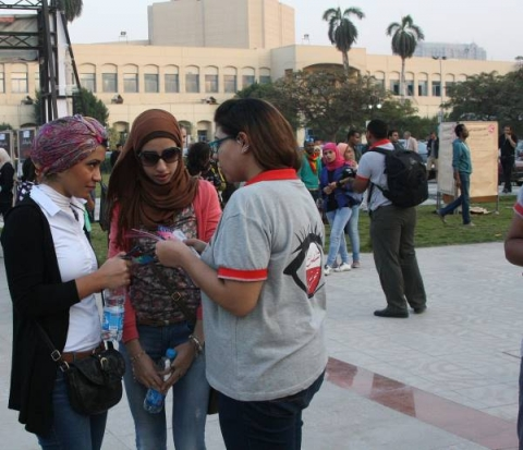 At an awareness-raising event about sexual harassment on Dec. 5, 2014 in Cairo