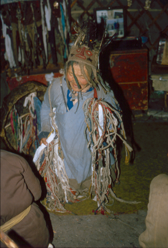 Fig. 10. Shamaness Baljir's feather headdress worn during the night ritual