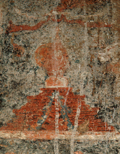 Fig. 12. Kaśmīri-style stūpa, one of three painted on wall opposite Maitreya sculpture