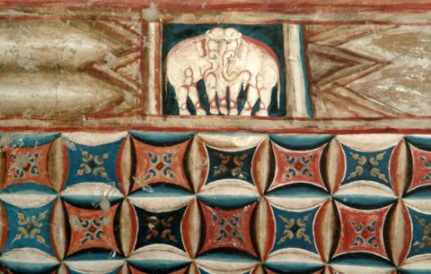 Fig. 17. Mural in Dunkar caves of Ngari (Western Tibet), ca. late 11th-12th century, depicting two elephant bodies sharing a head