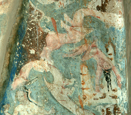 Fig. 24. Detail of Fig. 23, the bodhisattva throws himself from the mountain
