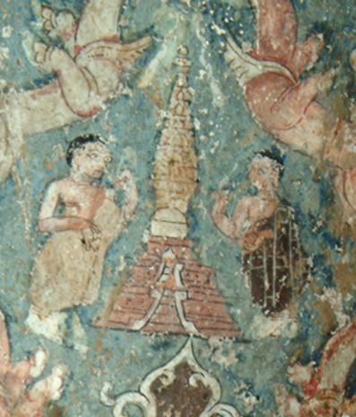Fig. 38. Standing figure (Sudhana ?) with a monk offering worship to a Kaśmīri-style stūpa on the Maitreya sculpture dhotī
