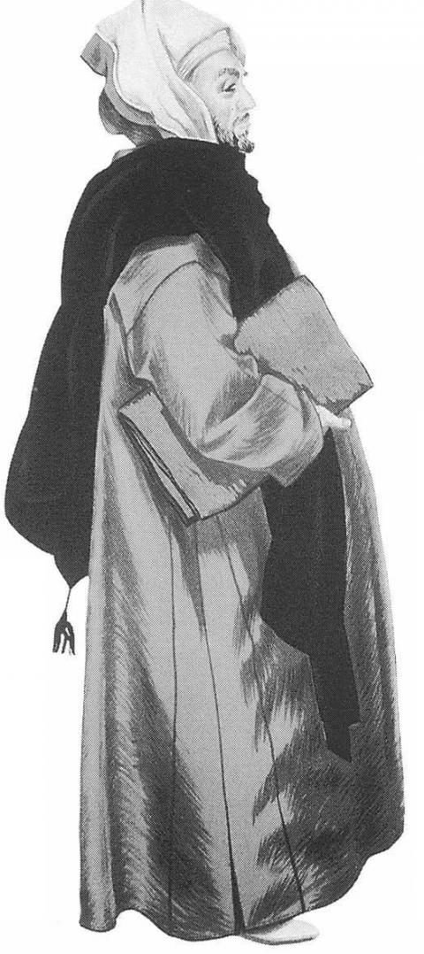 Citadin marocain portant la djellaba. Dessin J. Besancenot