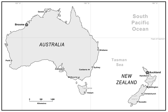 Postcolonial Profiling Of Indigenous Populations - Map of australia and new zeland