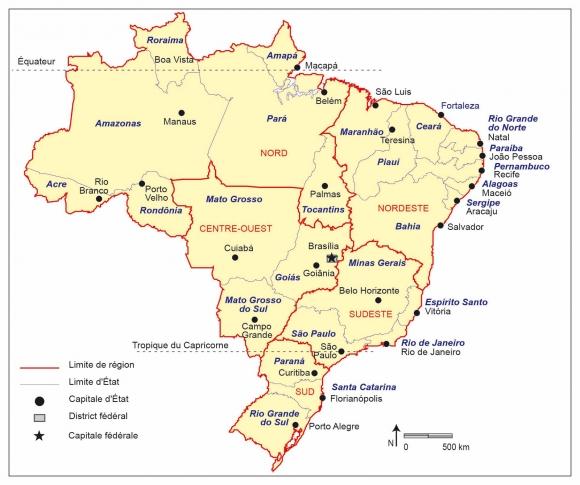 Carte Administrative Bresil.Les Populations Du Bresil Disparites Et Dynamiques