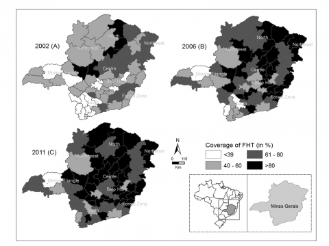 Figure 2. Coverage of Family Health Teams (in percentage of population) by regions of the State of Minas Gerais, Brazil, in 2002 (A), 2006 (B) and 2011 (C)
