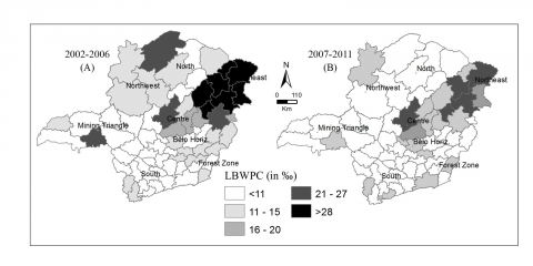 Figure 3. Live births without prenatal care (in ‰) between the years 2002-2006 and 2007-2012 by regions of the State of Minas Gerais, Brazil