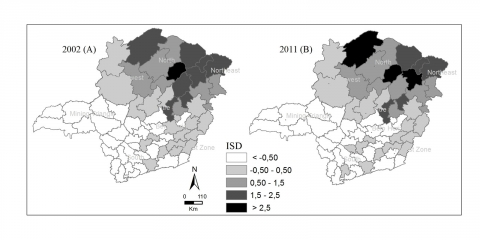 Figure 4. Index of Sociomaterial Deprivation in the State of Minas Gerais, Brazil, calculated at the level of microregions for the years 2002 (A) and 2011 (B).