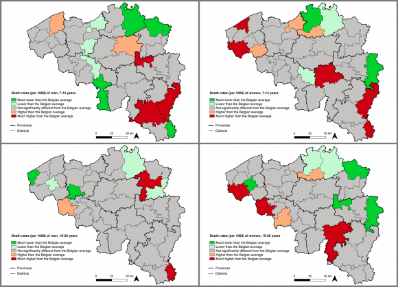 Spatial disparities at death. Age-, sex- and disease ...