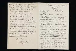 Letter written from William Butler Yeats at Ballinamantan House, Co. Galway, Ireland, to Ezra Pound, 15 July 1918.