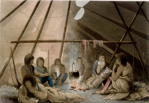 Interior of a Cree Indian tent March 25, 18209