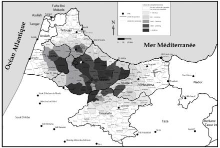 Culture du cannabis dans les provinces du Nord du Maroc en 2004 (par communes)
