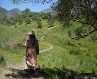 Femme Jbala, partant récupérer son bétail et ramassant au passage des herbes adventices des cultures comestibles, Ain Mediouna, nord du Maroc