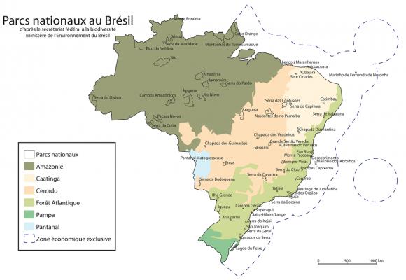 Carte Bresil Cote Atlantique.Parcs Nationaux Au Bresil