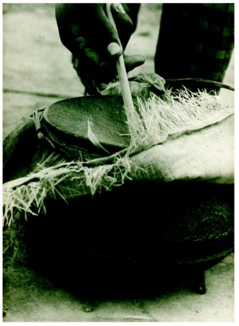 Tambour-marmite ou <em>sanza</em> avec une bassine pour résonateur