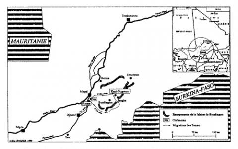 Mapa 1. - Ubicació i migracions de Saman Xve-XVIII Century