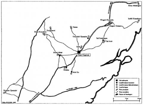 Mapa 2. - Territori i localitats de l'estat Cité-Saman a La fi del segle XIX