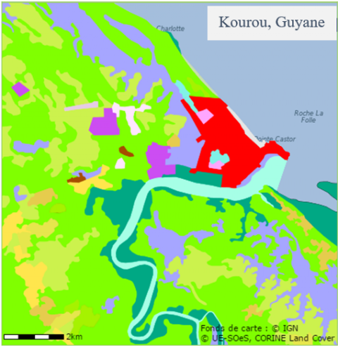 Figure 3. Carte de l'occupation des sols à Kourou en Guyane