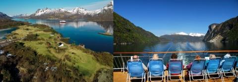 Fotografias 1a e 1b. O cruzeiro é uma estância flutuante desfilando entre paisagens de cartão postal