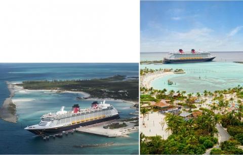 Fotografias 3a e 3b. A ilha privada de Castaway (Bahamas) reservada aos hóspedes da Disney Cruise Line