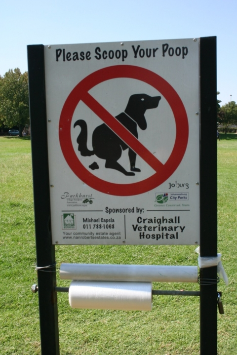 Figure 1: Sign put up by the park users. This sign was sponsored by local businesses and endorsed by Johannesburg City Park (2012).