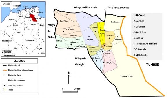 Carte Algerie El Oued.Le Role Des Services Et Des Investissements Dans L