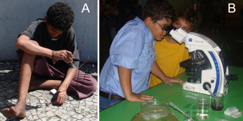 "Figure 1. Curiosity is innate of human beings. A) Child from the street of Rio light up a match using old glasses. Neighborhood of Gloria, Rio de Janeiro, alien to the events of the 4th ""Semana Nacional de Ciência e Tecnologia "" (October 2007), B) Child finds microscopic life in the event ""Meio ambiente com saúde""  (may/2010). This event is part of the series ""Sábados da Ciência "" which takes place on the last Saturday of every month in the Espaço Ciência Viva."