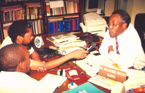 Figure 1. A Ugandan official being interviewed as part of the ILO radio project.