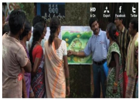 Figure 5. Naandi personnel explaining the plantation plan at the village