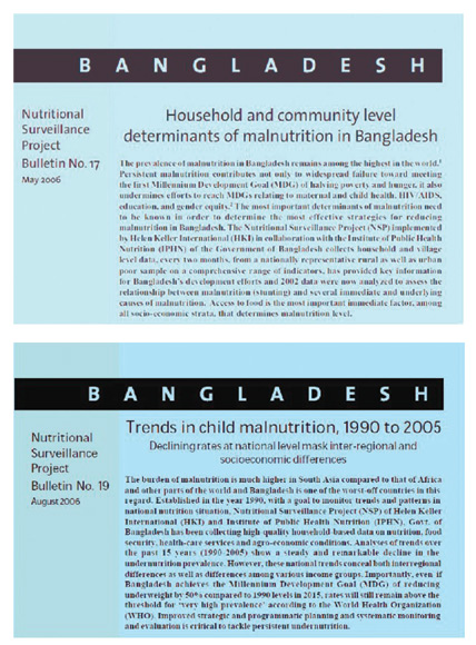 Figure 3. Cover page of NSP bulletins on determinants of malnutrition in Bangladesh (NSP Bulletin no.17), and on trends in child malnutrition, 1990-2005 (NSP Bulletin 19)