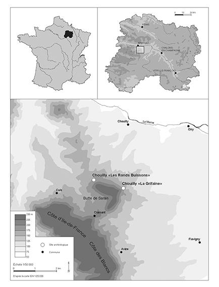 Carte De Localisation Des Ncropoles Chouilly La Grifaine Et Les Ronds