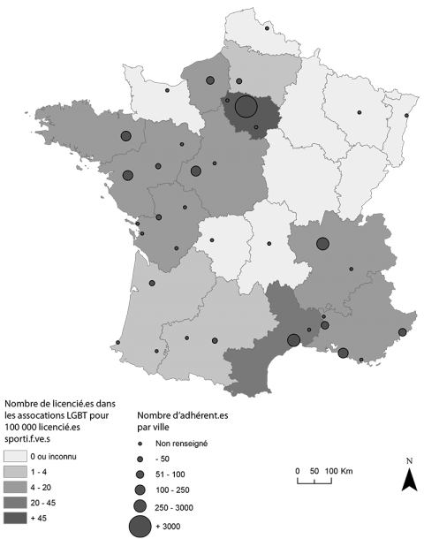 Carte 1 – Les clubs adhérents à la FSGL en France, 2014