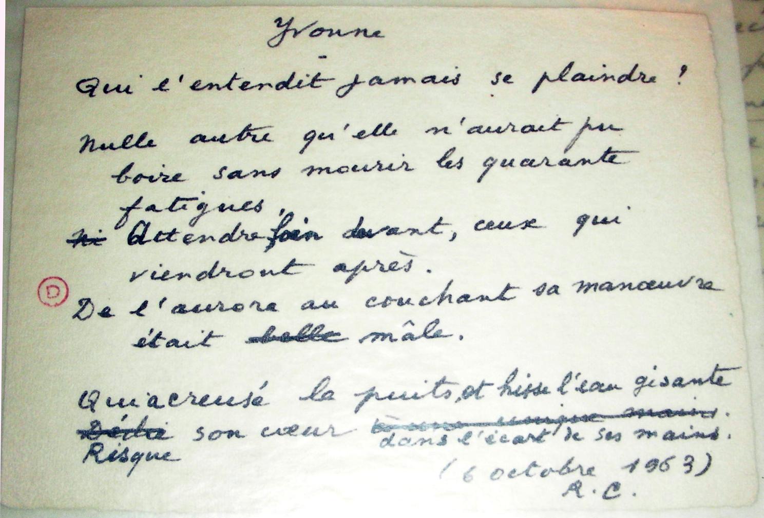 Lecture Dyvonne De René Char En Regard De Son Manuscrit