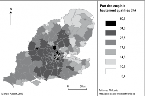 Figure 1 - Part des emplois hautement qualifiés par Local Authority en 2001
