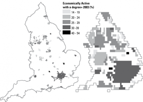 Figure 1: Proportion of economically active population with a university degree, 2003