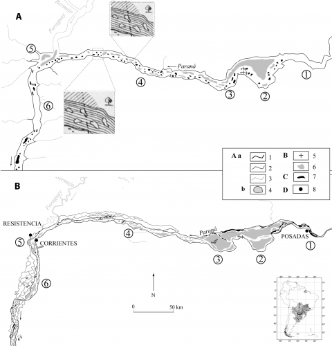 Fig. 7 – Comparaison de la forme en plan du tronçon du Haut Paraná, de la ville de Corrientes (Corrientes) à la ville de Posadas (Misiones). Fig. 7 – Comparison of fluvial patterns of the Upper Paraná section, from the city of Corrientes (Corrientes) to the city of Posadas (Misiones), Argentina.