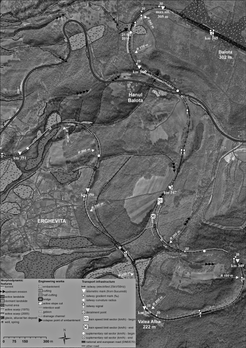 Fig. 3 – Geomorphotechnical map of Balota-Erghevita area, together with legend. Orthophoto from ANCPI Bucharest database (July 2005).Fig. 3 – Carte géomorphotechnique de la zone Balota-Erghevita, avec la légende. Orthophotographie de ANCPI Bucarest (Juillet 2005).