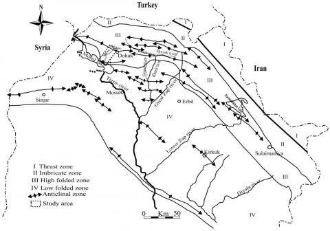 Fig. 4 – Tectonic subdivision of Iraqi Kurdistan by N.M.S. Numan (1997), modified.Fig. 4 – Subdivision tectonique du Kurdistan iraquien, d'après N.M.S. Numan (1997), modifié.