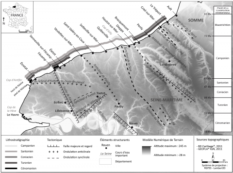 Fig. 1 – Schéma structural et lithostratigraphie simplifié haut-normand.Fig. 1 – Simplified structural map and lithostratigraphy characteristics in Upper Normandy.