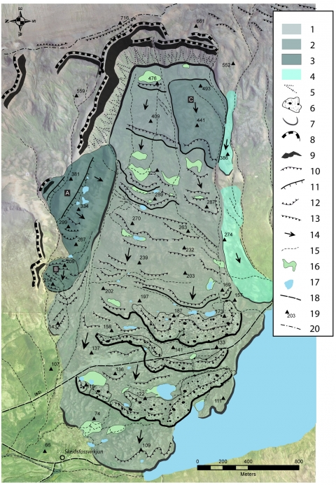 Fig. 5 – Geomorphological map of the Stífluhólar landslide.Fig. 5 – Carte géomorphologique du glissement de terrain du Stífluhólar.